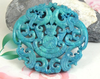 Large Carved Jade Pendant, Charm Blue Jade Pendant Chinese Old Dragon Jade Pendant Double Face Jade Necklace Pendant Jewerly