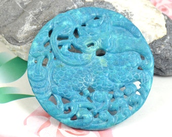 Large Carved Jade Pendant, Charm Blue Jade Pendant Chinese Unicorn Jade Pendant Double Face Jade Necklace Pendant Jewerly