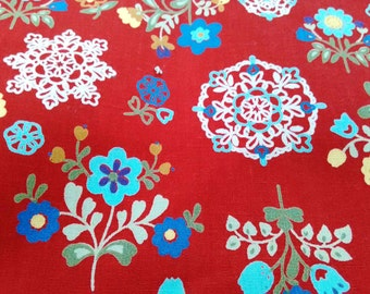 Scandinavian flower and crochet, red, fat quarter, pure cotton fabric