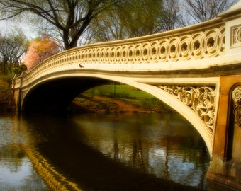 Bow Bridge in Spring, Central Park, New York City, Landscape Photograph, Manhattan, Color Photography, Zen Home Decor,  Wall Art, Beige