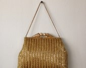 50s Gold Beaded Evening Bag //  Gold Handbag // Gold Beaded Purse // Heavily Beaded // Metal Chain Handle