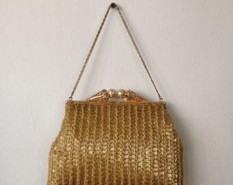 50s Gold Beaded Evening Bag //  Gold Handbag // Gold Beaded Purse // Heavily Beaded // Metal Chain Handle