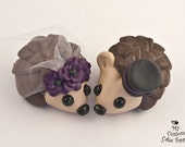 Hedgehogs Wedding Cake Topper with Poppies