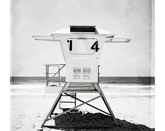 "Black and White Beach Photography - lifeguard stand light grey coastal wall art seaside photo pale gray seashore picture, ""Lifeguard #14"""