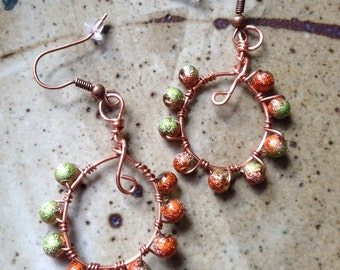 Handmade copper wire wrapped with green and coppery glass beads, made in maine, jewelry, fashion jewellry