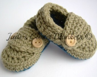 Crochet Baby Booties, Loafers, Taupe and Cape Cod Blue, Tan and Blue, newborn to 12 months