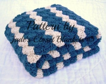 Crochet Baby Blanket Pattern, Instant Download, Ocean Waves, Cape Cod Blue with Off White Accent Stripes, Crib size and Travel size included