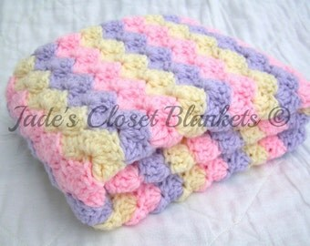 Crochet Baby Blanket, Baby Blanket, Crochet Baby Girl Blanket, Soft Pink, Lilac Purple, and Cream, travel, stroller size