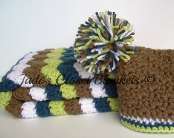 Baby Boy Gift Set, Crochet Baby Travel Blanket and Pom Pom Hat Gift Set, Chocolate Brown, White, Cape Cod Blue, and Soft Fern Green