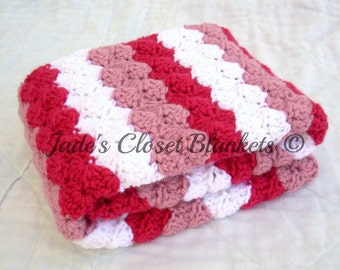 Crochet Baby Blanket, Cherry Pink, Cheery Cherry, Lullaby Pink, and White, Travel Size