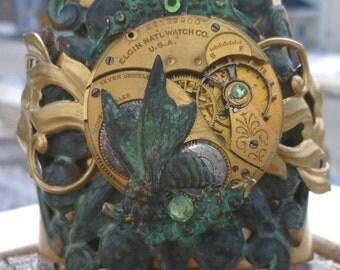 Steampunk Cuff Brass Patina 80 Yr Old Brass Elgin Pocket Watch Movement