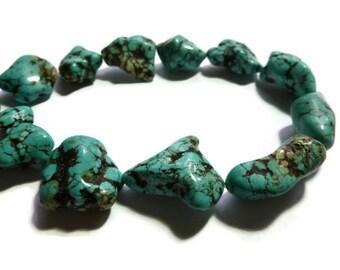 Turquoise Magnesite - Large Nugget Beads - 17 beads - Full Strand - irregular - freeform nuggets - pebble