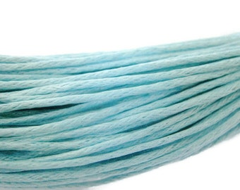 Sky Blue Waxed Cotton Cord 1mm - 25 ft