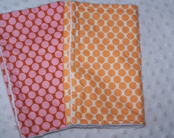 Boutique set of 2 minky Baby  Burp cloths - Amy Butler Full moon dot Fabric