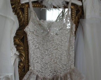 Shabby vintage lingerie, corset with garters, shabby chic ivory lace, romantic wedding