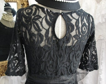 Black lace dress with tulle sash, french romantic, little black dress, Christmas parties