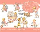 Digital Clipart, instant download, Vintage Little Girl Boy Clipart, Toddler, Child, Children, Kid, Little Girl, Little Boy, PNG files 2042