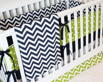 Baby Boy Crib Bedding - Navy Chevron, Lime Green Chevron and Grey Stripe Baby Boy Bedding