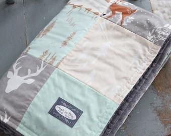 Patchwork Baby Blanket - Mint, Grey and Beige Woodlands Quilt