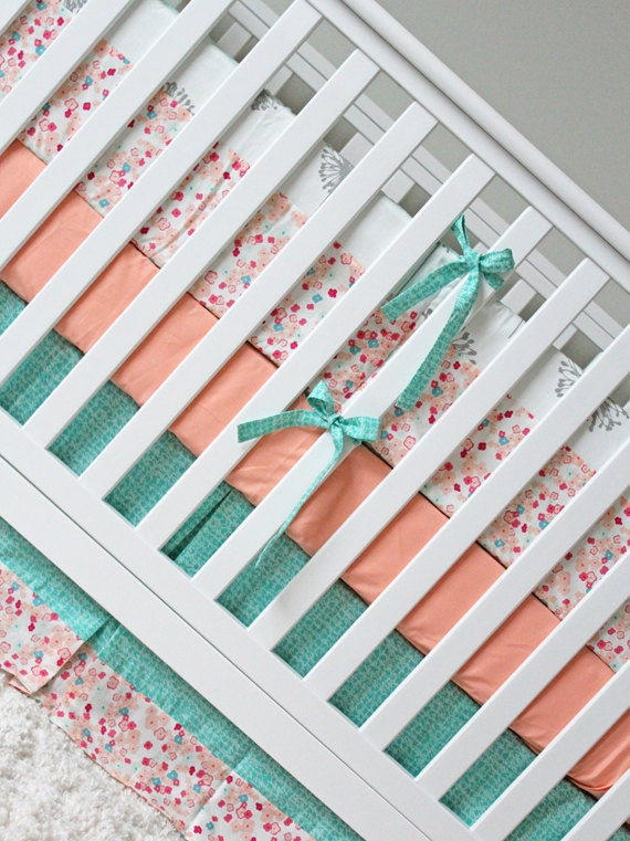 custom crib bedding peach mint and grey baby by gigglesixbaby. Black Bedroom Furniture Sets. Home Design Ideas