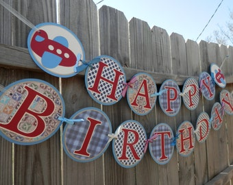 MADE TO ORDER Vintage Style Airplane Happy Birthday Banner - Customize Your Way