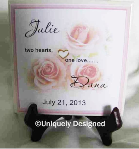 ... wedding Gift- Gay Marriage Gift -- tile- great gift for the new couple