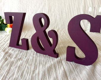 Initial sign Wooden letters wedding decor. Initials for top table decor wedding sign. Wedding initial sign wooden letters. Glitter Initials