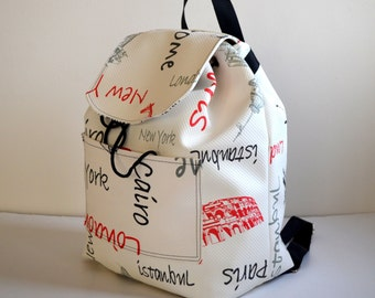 Back To School -Cream Backpack, Student Backpack,Paris ,Roma , Rome Backpack/Travel,School,Daily Backpack/Unisex Rucksack