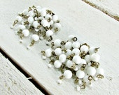 Vintage Milk Glass Earrings, White Glass Bead Earrings, Chandelier Clip-on Earring, 1950s Prom Wedding Bridal Costume Jewelry, Something Old