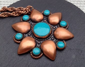 Solid Copper Southwest Turquoise Necklace