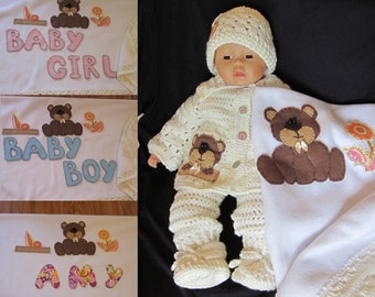Crochet Personalized Teddy Bear Blanket Cardigan Overall Booties Hat set. Perfect Baby Shower Christening Newborn Gift or Take Home Outfit