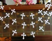 Christening Cross Garland - Gold & White Baptism decorations - First Communion Garland - Baby Dedication Decor - Your Color choice