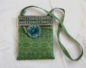 Green Tapestry Print Purse, Derin Bag Embellished with Removable Flower Pin, Aqua Blue Ribbon Flower Brooch with Hand Dyed Velvet Center