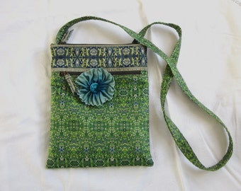 Green Purse, Tapestry Print Purse, Derin Bag Embellished with Removable Flower Pin, Aqua Blue Ribbon Flower Pin with Hand Dyed Velvet Center