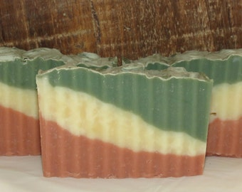 Clearance - Cactus and Sea Salt Scented Luxury Cold Process Rustic Soap - Palm Free