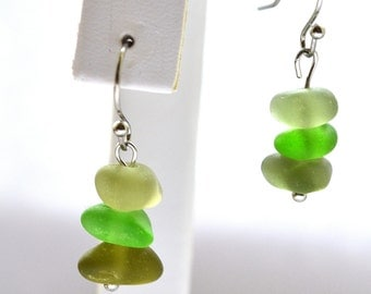 Shades of  Green Sea Glass Earrings with Stainless Steel