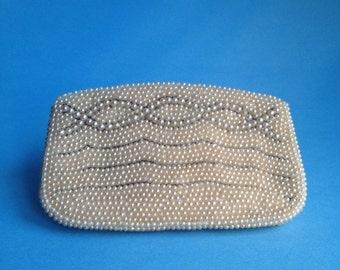 Vintage Pearl Beaded Purse / Ivory / Amazing !!!