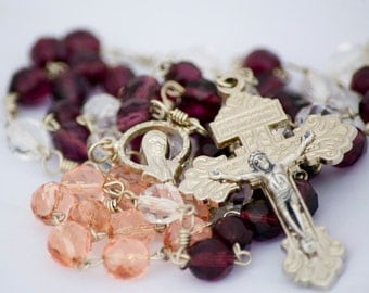 Advent Rosary Handmade Catholic Sacramental Czech Glass Beads Purple Pink & White with Pardon Crucifix