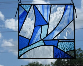 Blues Abstract Stained Glass Panel