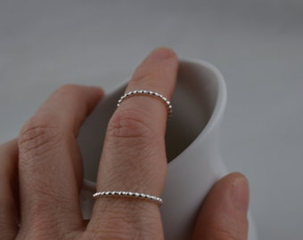 Skinny Sterling Silver Bead Ring - Midi or Regular ring
