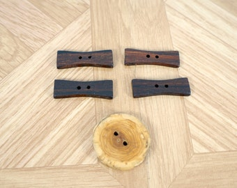 Wood buttons, four bowtie buttons, bow tie wood buttons, extra round button