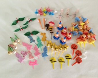 Huge Set of Vintage Birthday Cake Or Cupcake Picks and Candle Holders