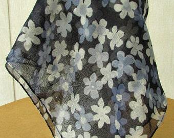 vintage 70s daisy scarf black blue sheer chiffon scarf 20 x 19