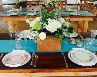 Aqua Burlap Table Runner Aqua Blue Wedding Decor  Beachy Table Runner