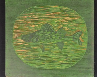 Vintage Hand Carved 11 x 13 Art Wood Block Fish Wall Art, Signed by Artist, Rustic Cabin Art Decor, Green Trout, Bass, Bungalow, Cottage