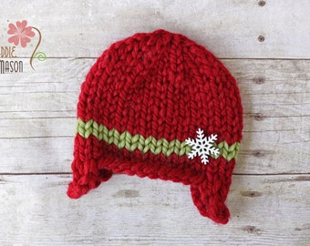 Christmas Holiday Wooly Earflap Beanie with Snowflake, Newborn Photography Prop