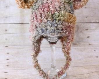 RUSH READY to SHIP - Soft & Chunky Bear Earflap Beanie, Newborn Photography Prop, Multi Color Brown Soft and Chunky Yarn