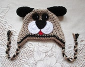 Tan, Black and Medium Brown Puppy Dog Crochet Winter Hat or Photo Prop - Available in Any Size or Color Combination