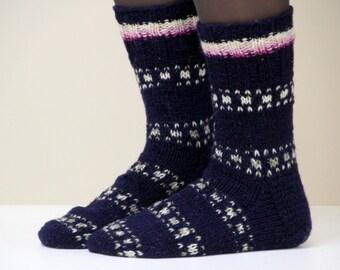 Warm hand knit wool socks, size medium US woman's size 7-7.5, EU size 37.5-38