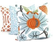 Osborne and Little Maharani Decorative Pillow Cover 18x18, 20x20, 22x22, Eurosham or lumbar pillow, Throw Pillow, Orange Turquoise Pillow
